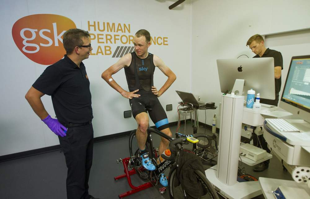 Froome is put through his paces in the Glaxo Smith Kline laboratory, as scientists monitor his power and endurance levelsin order to compare them to his competition performance levels.
