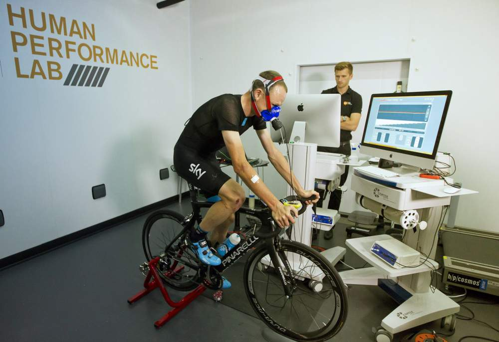 Froome is put through his paces in the Glaxo Smith Kline laboratory, as scientists monitor his power and endurance levels in order to compare them to his competition performance levels.