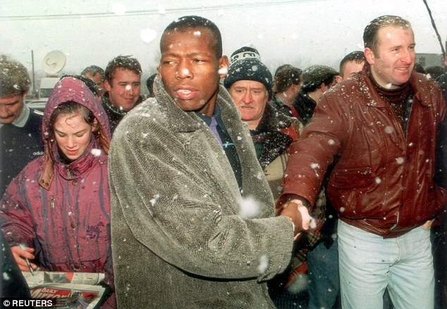 Colombian Faustino Asprilla arriving at Newcastle in his legendary fur coat, January 1996