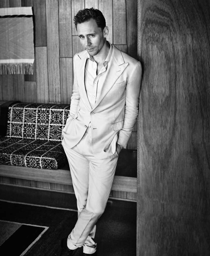 Pale tan silk suit, £3,330; pale tan silk dress shirt, £455, both by Ralph Lauren Purple Label